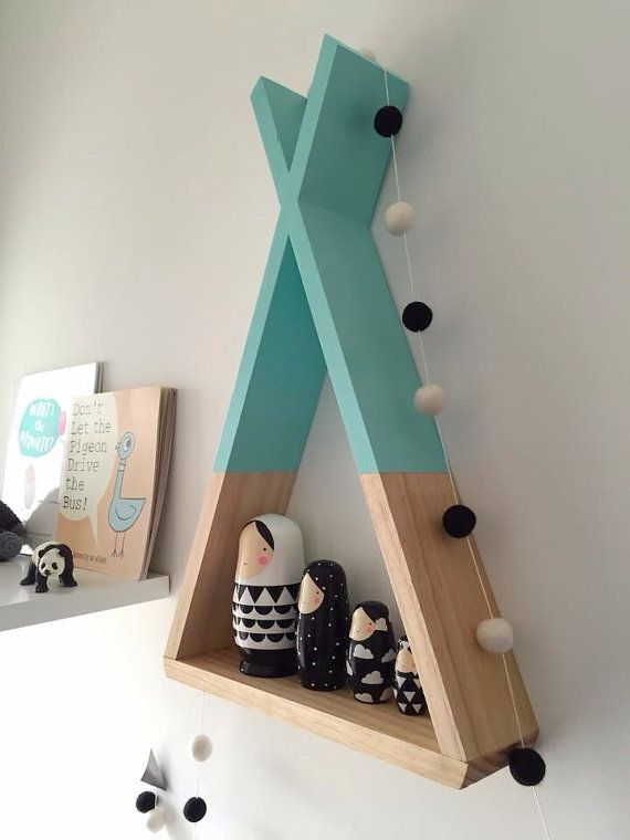 Teepee Shelf Mint Shelves Woodland Nursery Decor Tribal Nursery Decor Kid's Room Decor Etagere tipi pour chambre d' enfant vert