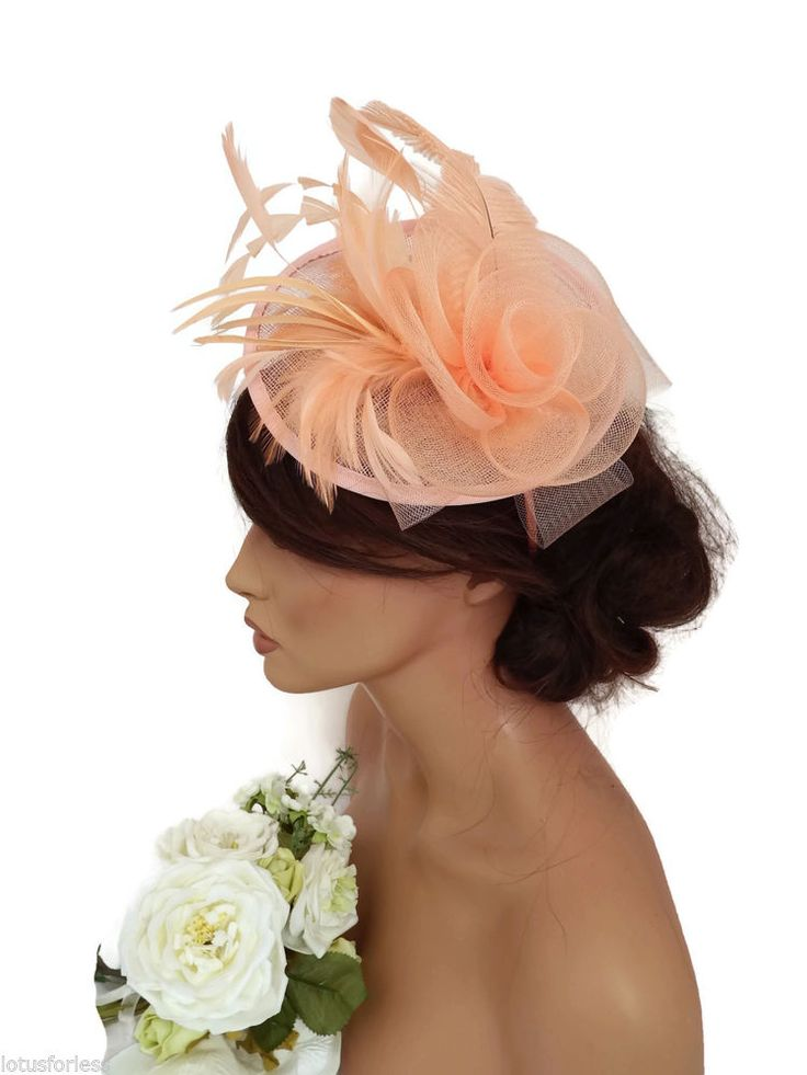 Elegant Light Coral Peach Mesh Net Bow Headband Fascinator