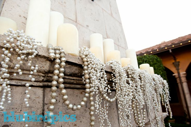 #pearls #candles #mantlepiece #fireplace #wedding