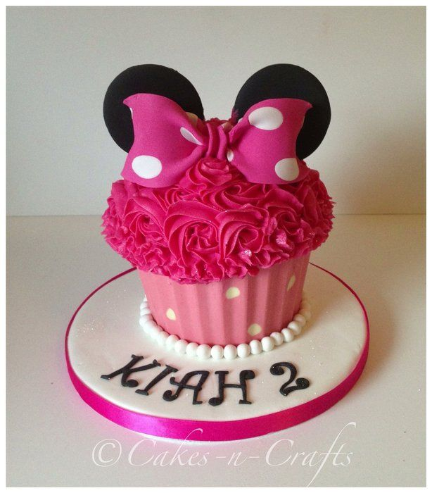 minnie mouse cupcake | Minnie Mouse giant cupcake with a chocolate pink and white spotty case …