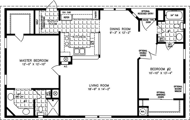 1000 sq foot house plans | The TNR-4446B – Manufactured Home Floor Plan | Jacobsen