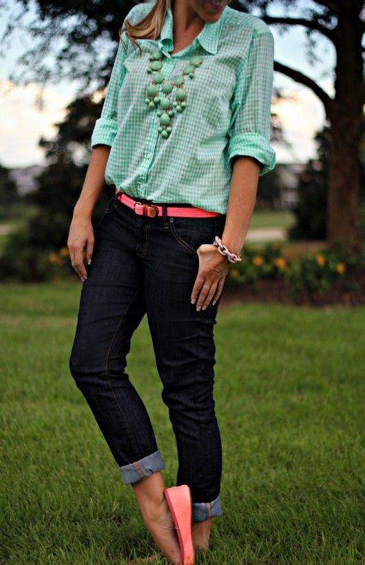 Mint Gingham Shirt @T………J.Maxx #fabfound @Donna Maywald Navy skinny jeans