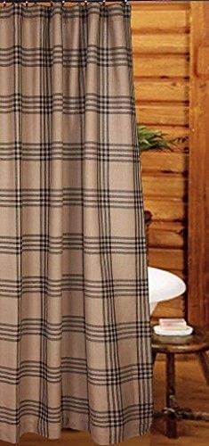 New Primitive Country Cabin Rustic Bath BLACK Amp TAN PLAID Fabric Shower Curtain Plaid Tans