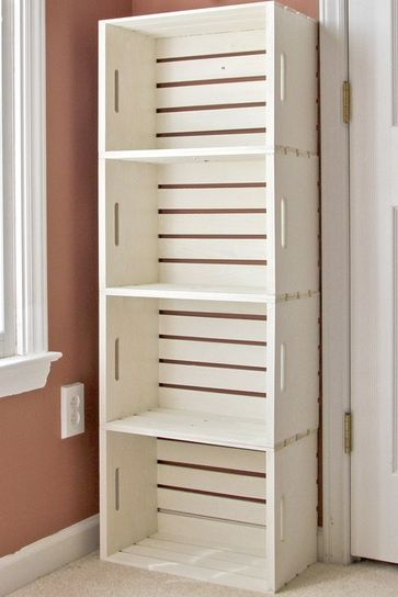 Unique Bookshelf for Under $13… These crates are at Hobby Lobby!