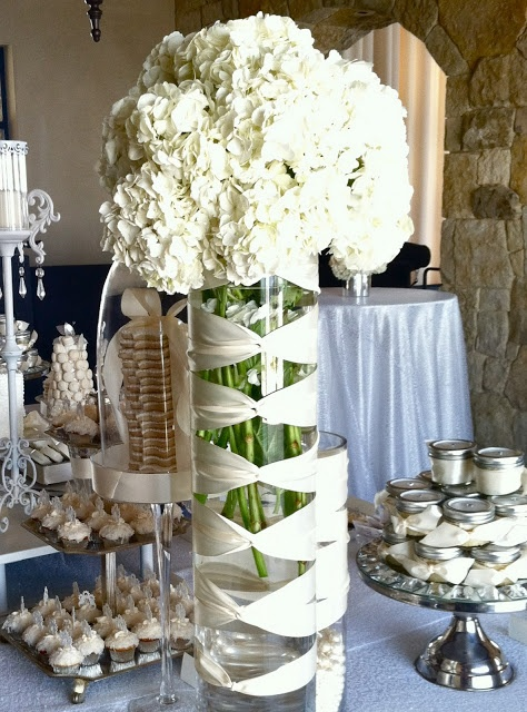 Tablescape Centerpiece Ribbon Wrapped Vases Oh So Fab