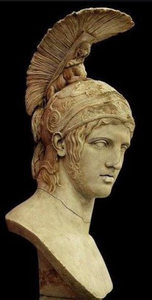 Head of Ares - after Greek original by Alkamenes 420 B.C, at the State Hermitage Museum, Saint-PetersburgAres[Mercury to the Romans] wearing the helmet with feathers [also on his ankles] that represent his celestial power as a messenger from Zeus. The swirl is symbolic of eternal life.: