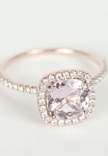 ##rings Peach Pink Cushion Sapphire Diamond Halo Engagement Ring. Maybe in a fai