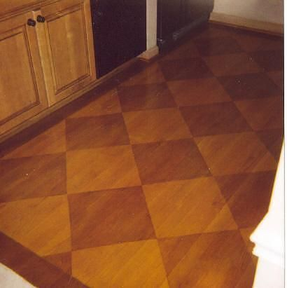 Patterned Plywood Floor Done With Stain Instead Of Paint