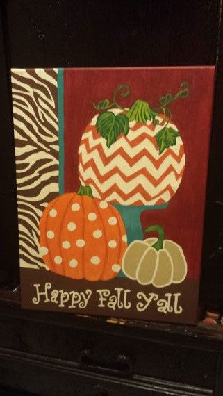 12×16 happy fall yall canvas by BlessedSigns on Etsy