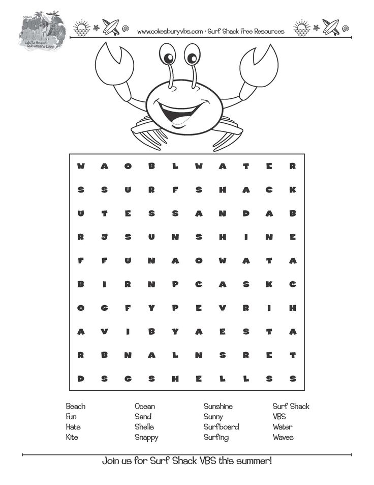enjoy! snappy word search.cokesburyvbs  surf shack