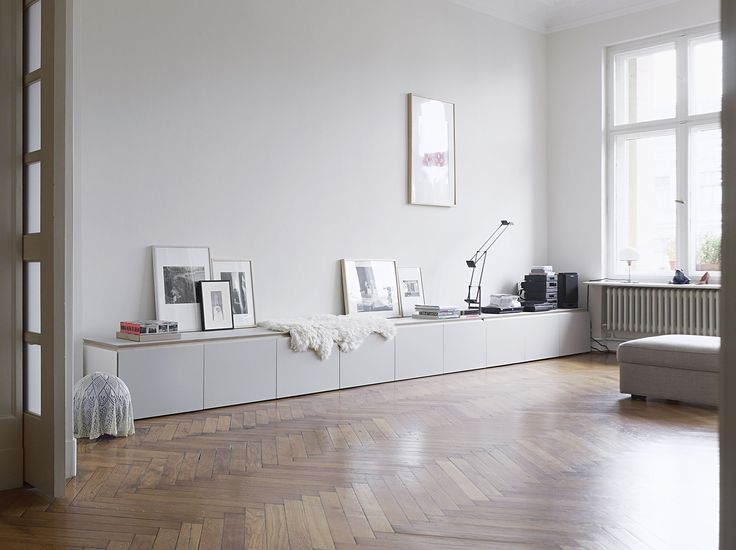 Long Clean White Storage Ikea Besta May Work For This