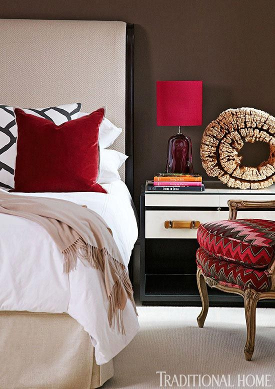 Decorating with Red: If true red, is a little overwhelming, consider decorating with a brown/red like Marsala, Pantone's Color of the Year.
