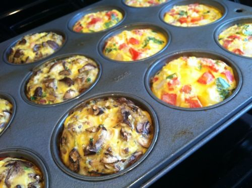 Breakfast omelets to go! Pour egg beaters into a greased cupcake pan, then add t