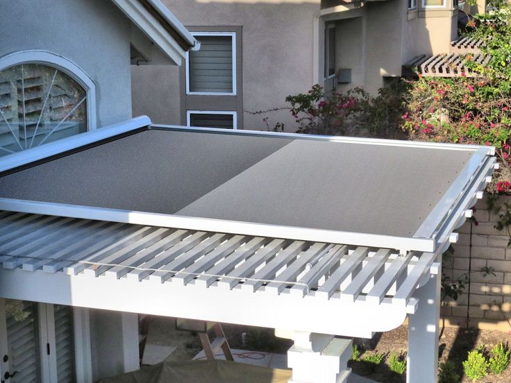Retractable Shade Panel On Lattice Patio Cover By Superior