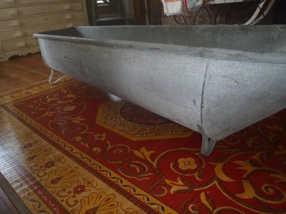 Primitive KRAUSS Antique Galvanized Tin COWBOY BATHTUB