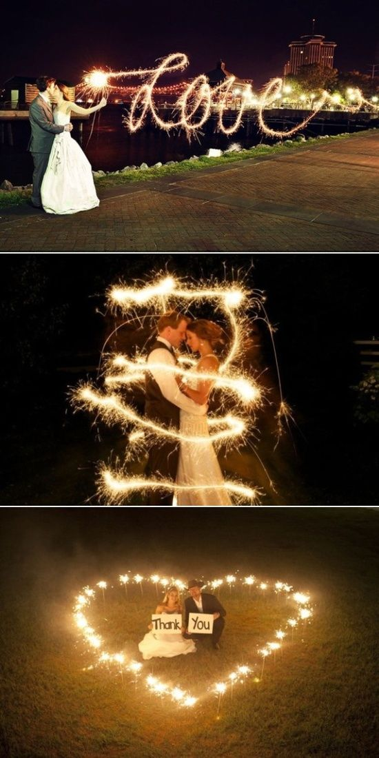 wedding sparklers a very romantic addition to your wedding photos. Cute Wedding photo but I love Light Painting with my camera.