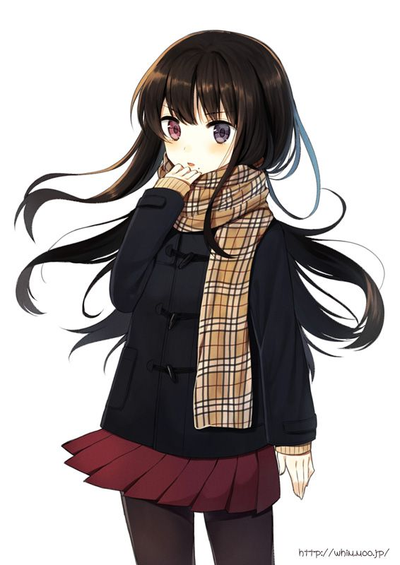 Anime Girl With Black Hair Red Eyes Blue Eyes Coat