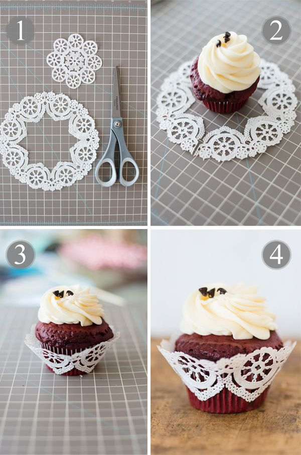Doily Cupcake Wrapper DIY Project Wrap Me Pretty Amp Paper