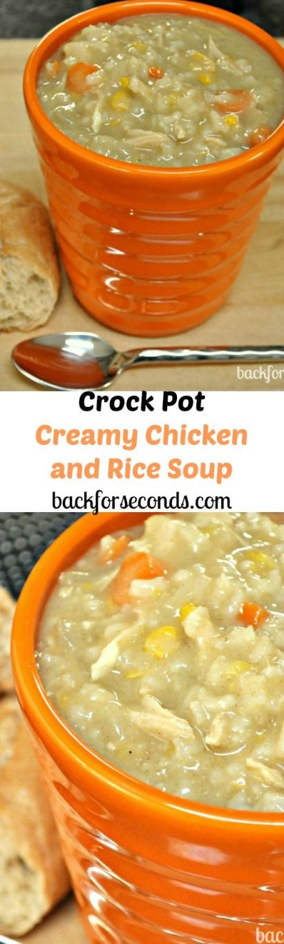 Creamy Chicken and Rice Soup Recipe made in the Crock Pot: Creamy Chicken and Rice Soup Recipe made in the Crock Pot