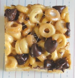 Peanut Butter Cheerios Treats INGREDIENTS: 6 cups Cheerios, 2 tbsp butter, 1/3 cup smooth peanut butter, 40 marshmallows, 1 cup