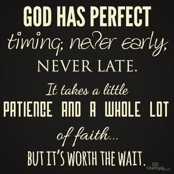 God has perfect timing…God is good! So glad we always held on and never gave up on each other!