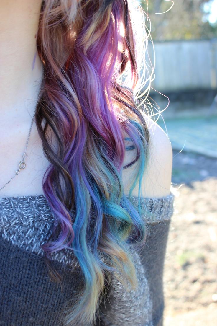 Purple Teal And Blonde Hair Colorful Hair Rainbow Hair