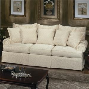 Loose Pillow Back Sofa With Rolled Arms And Skirt From