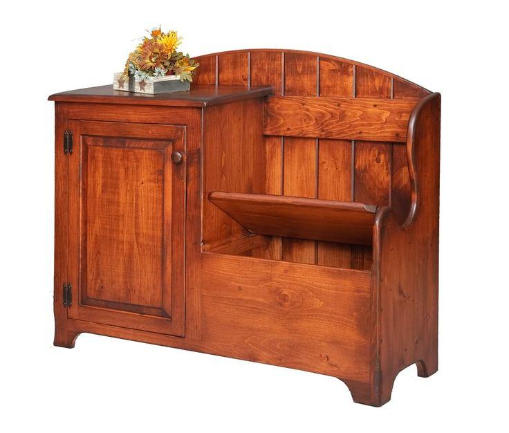 Details About Primitive Deacons Storage Bench Cabinet Wood