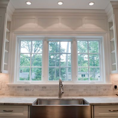 cararra backsplash with super white granite love the shelves on the cabinets next to the on kitchen cabinets around window id=44382