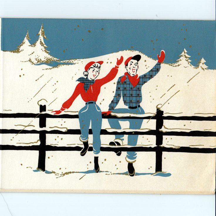 Five Vintage 1950s Western Themed Christmas Cards Yays