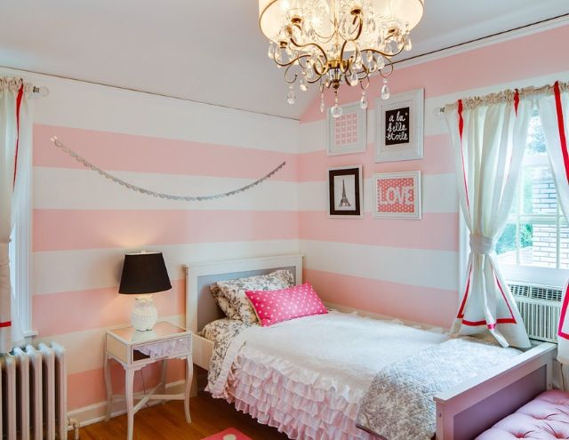 Pink White Striped Walls Girls Bedroom For The Home