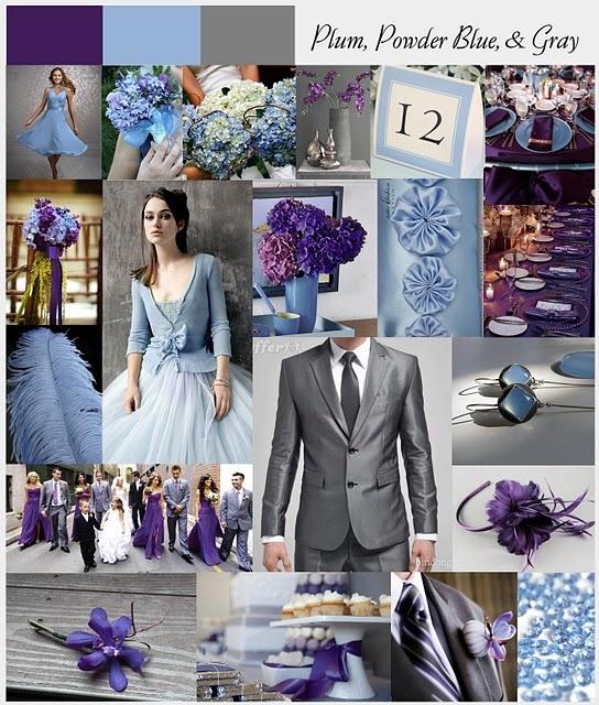 plum, powder blue and grey wedding