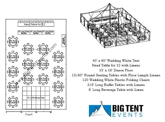 Wedding Tent Rental 120 Guest Seating Layout, Chicago Il