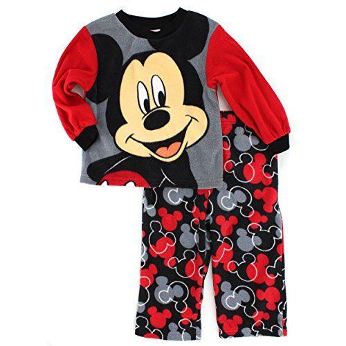 Mickey Mouse Boys Fleece Pajamas 3T Mickey RedBlack