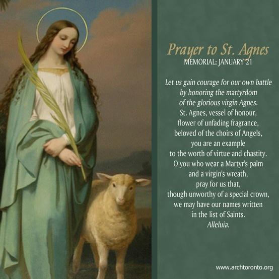 Prayer To St Agnes Memorial January 21 Caroline Room