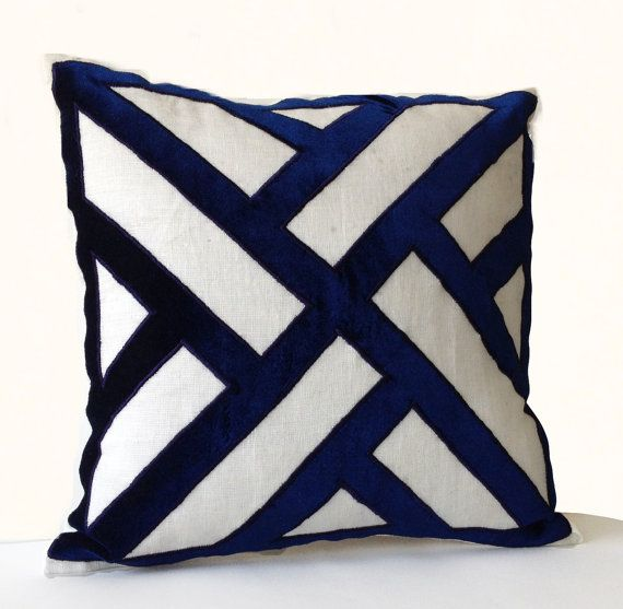 Ivory Linen Navy Blue Velvet Applique Pillow Cover