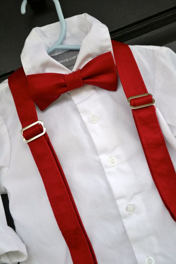 Solid Red Bowtie Bow Tie And Suspender Set Baby