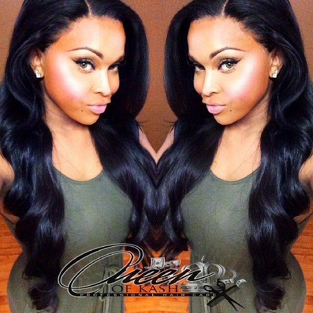 Full Sew In With Lace Frontal Black Weave Hairstyles