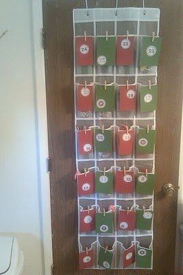 Advent Calendar Using An Over The Door Plastic Shoe