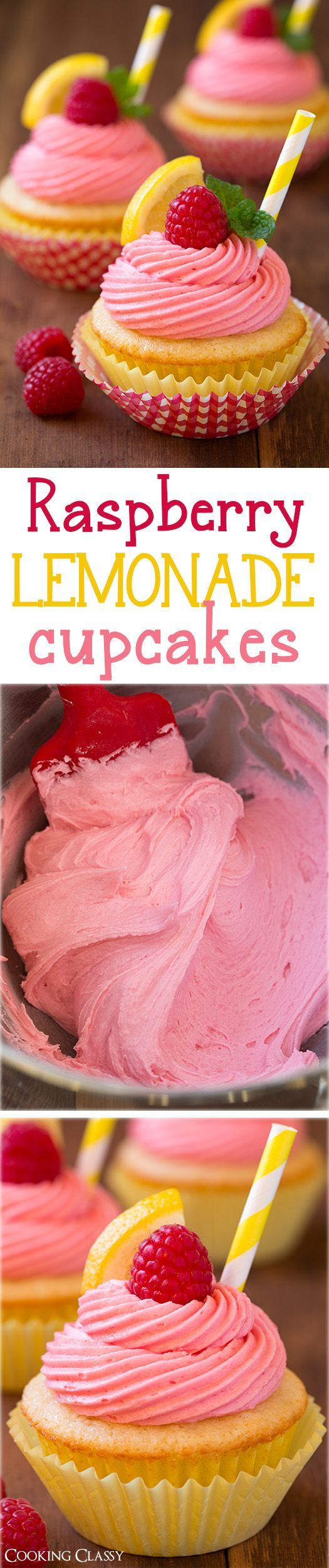 Raspberry Lemonade Cupcakes – fresh lemon cupcakes and fresh raspberry buttercream frosting. Summery deliciousness! Love these!