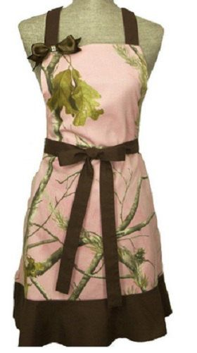 Extra long ties adjust for full figured women – like me! Have this and love it! Realtree Pink Camo Apron Womens Bling Bow by