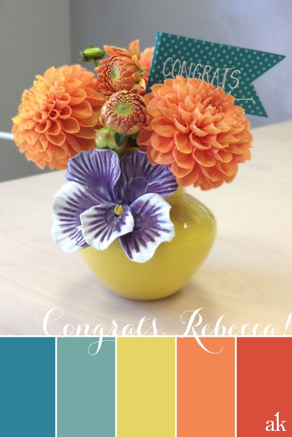 a dahlia-inspired color palette // blue, yellow, orange // congratulations on yo