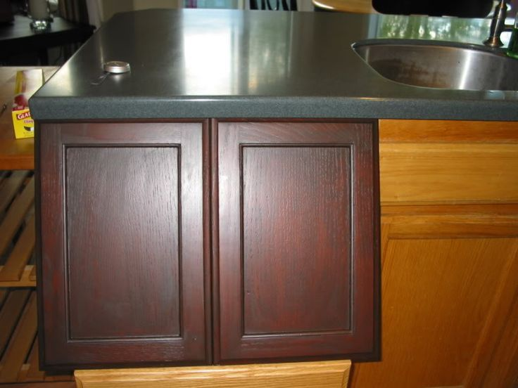 Staining Old Kitchen Cabinets