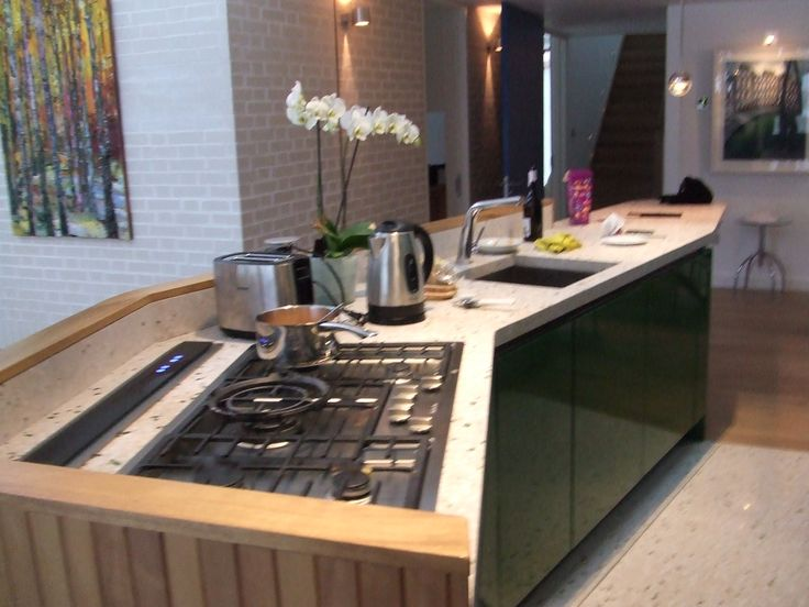 View Of Island With Downdraft Extractor Amp Flush Fit Miele Gas Hob Green Kitchen Pinterest