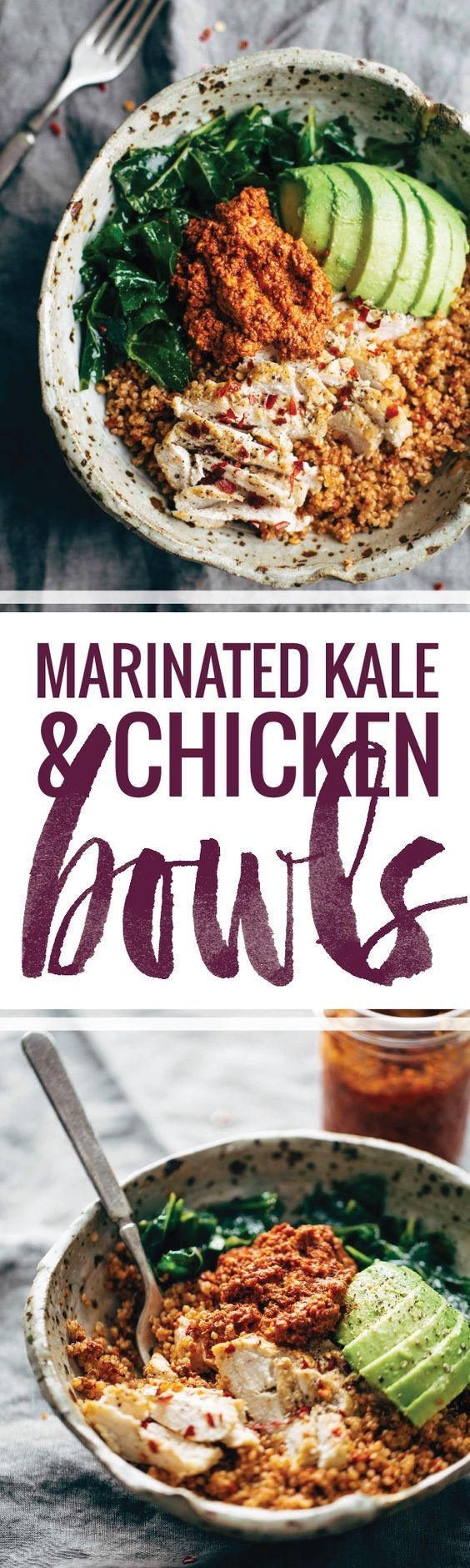 Marinated Kale and Chicken Quinoa Bowl with Sun Dried Tomato Sauce! this recipe is clean, simple, and