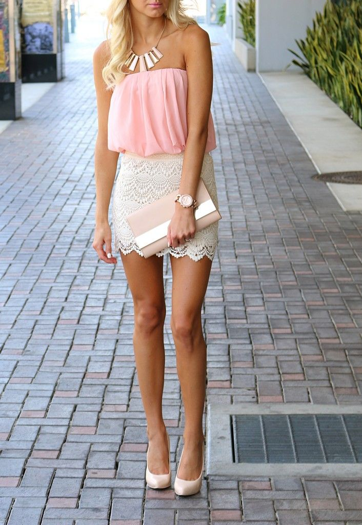 Crochet blush dress   nude clutch   nude heels #fashion #alldressedup