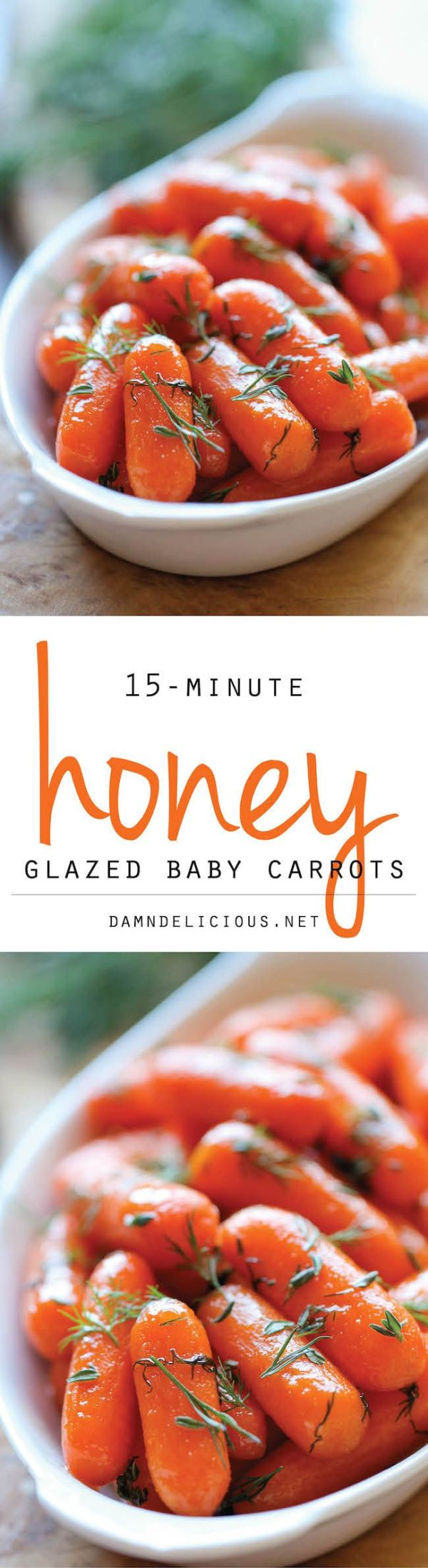 Honey Glazed Baby Carrots - Honey brings in such a pleasant sweetness to these baby carrots in this easy 15-minute side dish!: