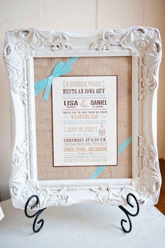 Frame their wedding invitation