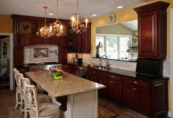 What Granite Countertop Color Looks Best with Cherry ... on What Color Cabinets Go Best With Black Granite Countertops  id=98727