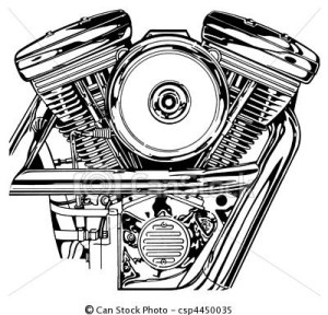 Stock Illustration  Harley VTwin Engine  stock illustration, royalty free illustrations